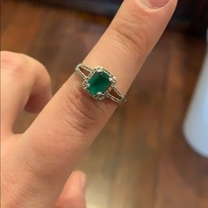 Emerald diamond and white gold ring